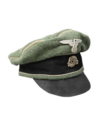 "GERMAN WWII WAFFEN SS FIELD GREY "" CRUSHER"" CAP"