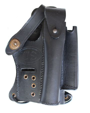 US WALTHER  P-22 BLACK LEATHER HOLSTER WITH MAGAZINE & SILENCER POCKETS