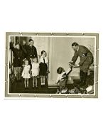ADOLPH HITLER WITH HJ AND CHILDREN POSTCARD