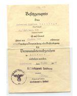 GERMAN AWARD DOCUMENT DERMUNDETENABZEICHEN #2