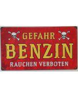GERMAN DANGER GASOLINE METAL SIGN