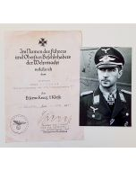 GERMAN IRON CROSS 1ST CLASS AWARD DOCUMENT AND PHOTO FOR WERNER MOLDERS