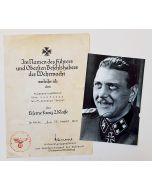 GERMAN IRON CROSS 2ND CLASS AWARD DOCUMENT AND PHOTO FOR OTTO SKORZENY