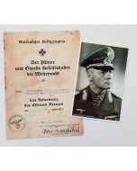 GERMAN KNIGHT'S CROSS OF THE IRON CROSS AWARD DOCUMENT AND PHOTO FOR ERWIN ROMMEL