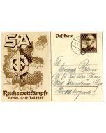 GERMAN  WW2 1938 SA SPORTS COMPETITION ARTWORK POSTCARD