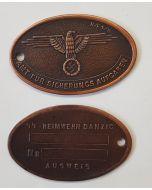 GERMAN SECRET POLICE ID - SS Heinwehr Danzig Bronze