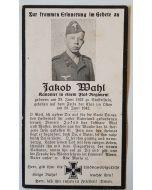 GERMAN SS DEATH CARD FOR JACOB MAHL ORIGINAL