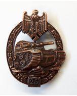 GERMAN TANK BATTLE BADGE WWII 25 ACTIONS PANZER GRENADIER