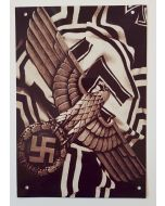 GERMAN WW2 ARMY EAGLE WITH SWASTIKA AND FLAG METAL SIGN