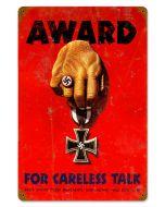 """CARELESS AWARD METAL SIGN 18"""" X 12"""""""