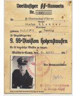 SS AUSWEIS SS OBERSCHARFUHRER STEFAN RICHTER 4./SS PZ AUFKL ABT 9 HOHENSTAUFEN DOCUMENT