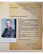 SS HONOR RING CONFERRAL LETTER AND SIGNED PHOTO