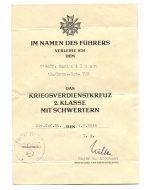 WAR MERIT CROSS 2ND CLASS 1939 WITH SWORDS AWARD DOCUMENT