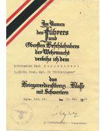 GERMAN WAR MERIT CROSS 2nd CLASS WITH SWORDS AWARD DOCUMENT