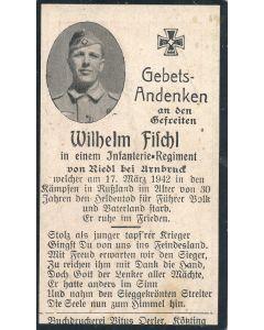 GERMAN WWII DEATH CARD FOR GRENADIER REGIMENT SOLDIER JOHANN STADLER V. SOHL