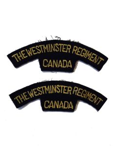 ww11 THE WESTMINSTER REGIMENT CANADA SHOULDER FLASHES
