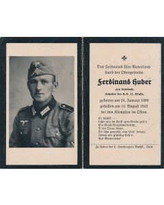 GERMAN WWII DEATH CARD FOR FERDINAND HUBER