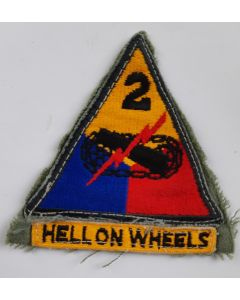 AMERICAN 2ND ARMOURED DIVISION PATCH WITH TAB ORIGINAL