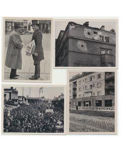 ARTILLERIE BEFCHOR WIENER GEMEINDEBAUTEN WAHREND DES FEBRUARAUFFTAND DES FEBRUARAUFTANDS 1934 CIGARETTE CARDS LOT OF 4