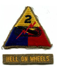 AUTHENTIC EARLY 2ND ARMORED DIVISION PATCH WITH TAB