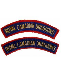 ww2 ROYAL CANADIAN DRAGOONS SHOULDER FLASHES