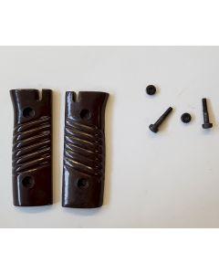 BAYONET DARK BROWN BAKELITE REPLACEMENT GRIPS WITH SCREW