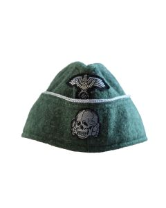 M40 SS OFFICER OVERSEAS SIDE CAP WITH BEVO SS TOTENCOPF SKULL AND EAGLE
