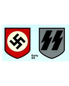 EARLY SS PATTERN HELMET DECALS SS RUNES AND NATIONAL PARTY SHIELD