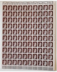 FULL AND COMPLETE GERMAN WWII HITLER HEAD STAMP SHEET OF 100 STAMPS 10 RPF VALUE. FULL GUM