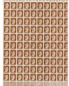 FULL AND COMPLETE GERMAN WWII HITLER HEAD STAMP SHEET OF 100 STAMPS 3 RPF VALUE