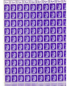 FULL AND COMPLETE GERMAN WWII HITLER HEAD STAMP SHEET OF 100 STAMPS 6 RPF VALUE. FULL GUM