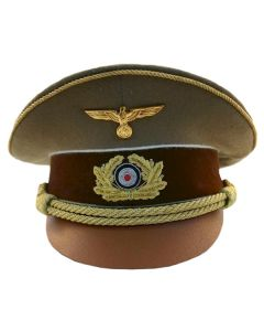 ww2 HITLER'S VISOR CAP TAN With Medal Eagle Insignia