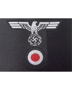 GERMAN ARMY PANZER ENLISTED MAN M43 TRAPEZOIDS BEVO T- SHAPED HAT BADGE Grey on Black