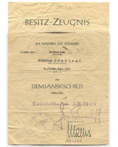 GERMAN AWARD DOCUMENT DEMJANSK SHIELD ORIGINAL