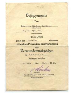 GERMAN AWARD DOCUMENT DERMUNDETENABZEICHEN
