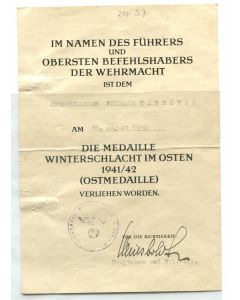 GERMAN AWARD DOCUMENT DIE MEDAILLE WINTERSCHLACHT IM OSTEN 1941/42 (OSTMEDAILLE)
