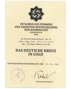 GERMAN CROSS IN GOLD SS OBERSTURMBANNFUHRER OTTO SKORZENY KDR SS JAGER BTL 502 DOCUMENT