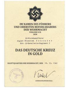 GERMAN CROSS IN GOLD SS STURMBANNFUHRER AUGUST FRIEDRICH ZEHENDER KDR. SS KAVALLERIE RGT 2 DOCUMENT