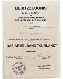 """GERMAN CUFFTITLE """"KURLAND"""" SS UNTERSCHARFUHRER NIELS PEDERSEN II./SS PZ GREN RGT 24 """" DANMARK"""" DOCUMENT"""