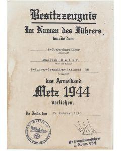 """GERMAN CUFFTITLE """"METZ 1944 """" SS OBERSCHARFUHRER AMALRICH MAIER SS PZ GREN RGT 38 """" GOTZ VON BERLICHINGEN"""" DOCUMENT"""
