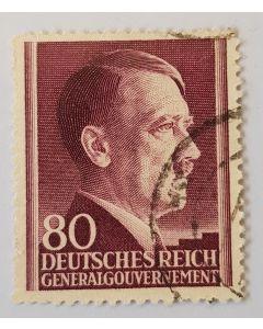 GERMAN DEUTSCHES REICH 80 GENERAL GOUVERNEMENT HITLER 1941 STAMP
