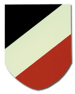 GERMAN HELMET TRI-COLOR SHIELD DECAL - SINGLE