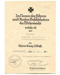 GERMAN IRON CROSS 2ND CLASS AWARD DOCUMENT