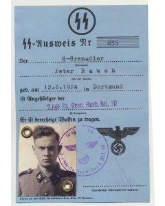 GERMAN SS AUSWEIS SS GRENADIER PETER RAUCH 2./SS PZ GREN AUSB BTL 10 DOCUMENT