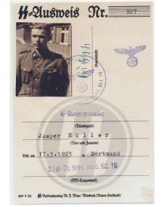 GERMAN SS AUSWEIS SS PANZERGRENADIER JASPER HILLER 2./SS PZ GREN AUSB BTL 10 DOCUMENT