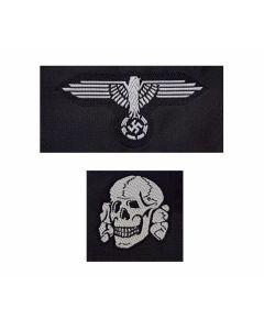 GERMAN SS CAP SKULL AND EAGLE BEVO STYLE HAT BADGE EM GREY SET
