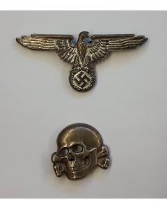 GERMAN SS CAP SKULL AND EAGLE INSIGNIAS ORIGINAL