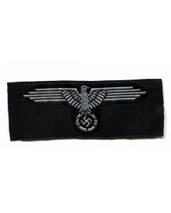 GERMAN SS HAT BADGE EAGLE GREY BEVO STYLE ENLISTED MAN