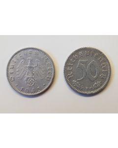 GERMAN THIRD REICH COIN - 50 REICHSFENNING