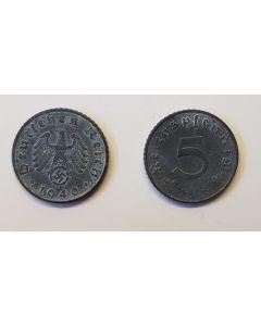 GERMAN THIRD REICH COIN - 5 REICHSFENNING